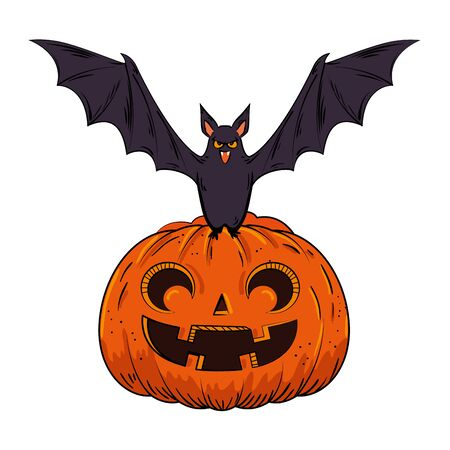 halloween pumpkin with bat pop art style vector illustration design Ilustração