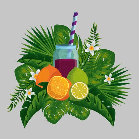 tropical fruits with beverage in the exotic flowers and leaves vector illustration