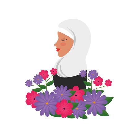 profile of islamic woman with traditional burka and garden flowers vector illustration 免版税图像 - 140104126
