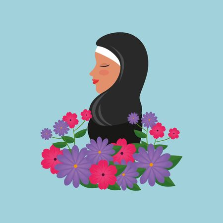 profile of islamic woman with traditional burka and garden flowers vector illustration 免版税图像 - 140106696