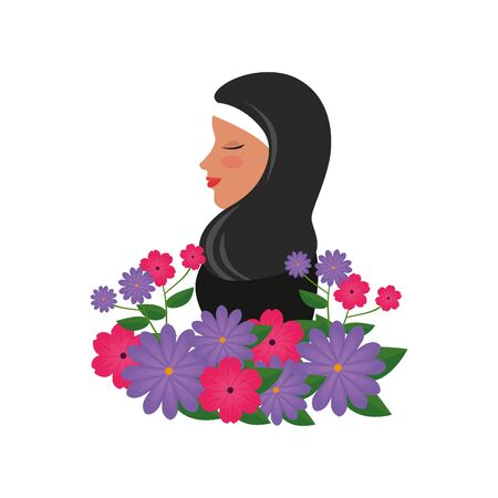 profile of islamic woman with traditional burka and garden flowers vector illustration 免版税图像 - 140106700