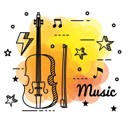 violin instrument with quaver and beam notes to music melody vector illustration