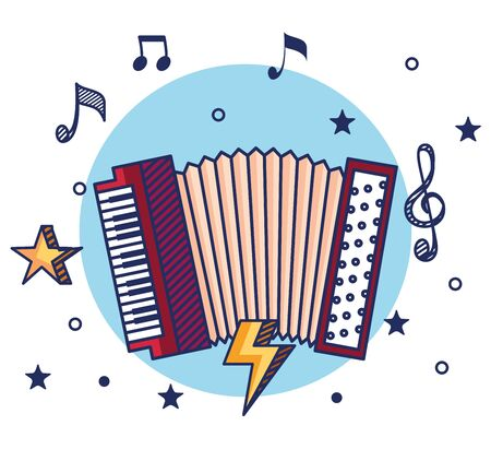 accordeon instrument with treble clef and quaver with beam notes to music melody vector illustration