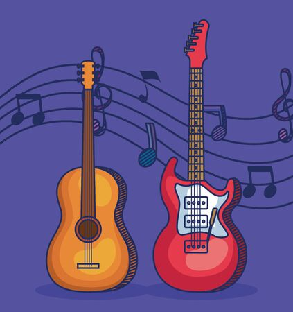 guitars instruments with treble clef and quaver with beam notes to music melody vector illustration