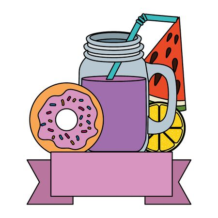 summer tropical cocktail with fruits and donut vector illustration design