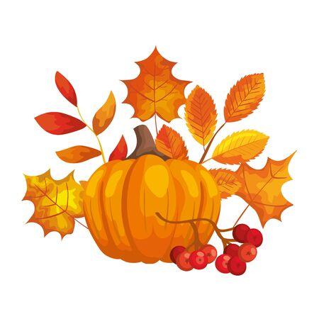 pumpkin with autumn leafs isolated icon vector illustration design Ilustração