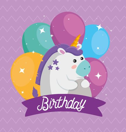 cute unicorn animal with balloon and ribbon to happy birthday, vector illustration