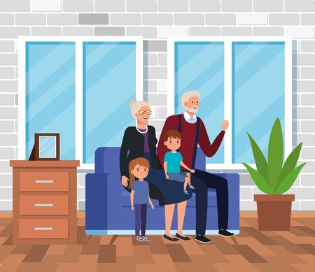 cute grandparents with their girl and boy kids in the home, vector illustration