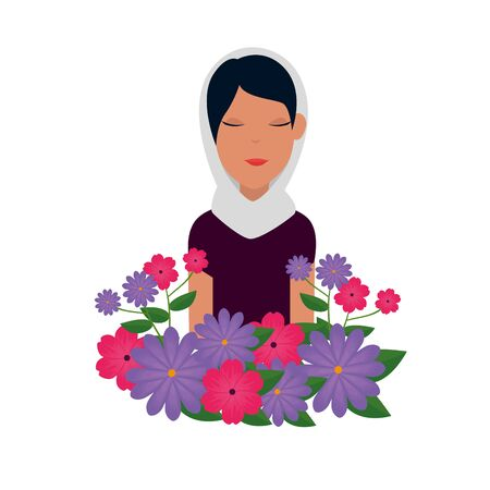 islamic woman with traditional burka and garden flowers vector illustration design 免版税图像 - 140106745