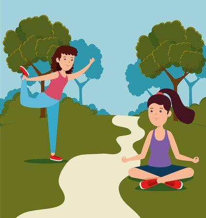 girls training yoga healthy activity to summer sport vector illustration vector illustration  イラスト・ベクター素材