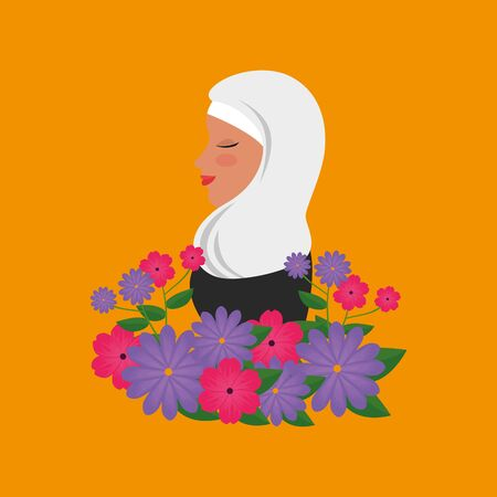profile of islamic woman with traditional burka and garden flowers vector illustration 免版税图像 - 140104291