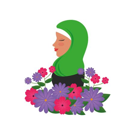 profile of islamic woman with traditional burka and garden flowers vector illustration 免版税图像 - 140104295