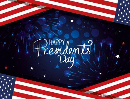 happy presidents day with flags usa vector illustration design Ilustração Vetorial