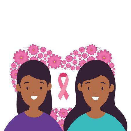 women in heart shape frame of flowers vector illustration design Ilustrace