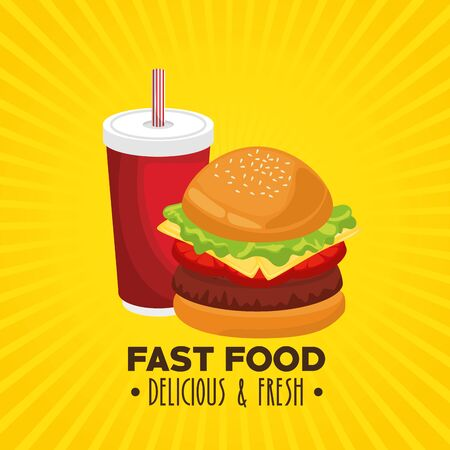 hamburger combo with french fries and soda vector illustration graphic design