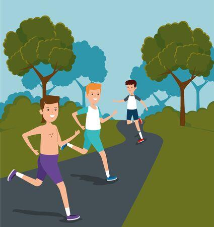 boys training athletics lifestyle activity to summer sport vector illustration