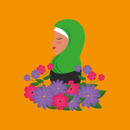 profile of islamic woman with traditional burka and garden flowers vector illustration 免版税图像 - 140105204