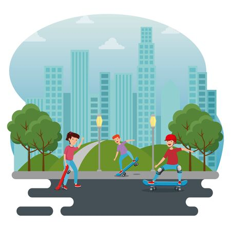 girl and boys practing skateboard in the park with trees and bushes vector illustration