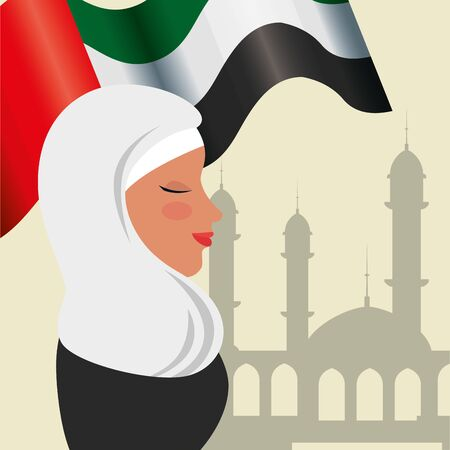 profile of islamic woman with traditional burka and arabia flag in mosque vector design 免版税图像 - 140105207