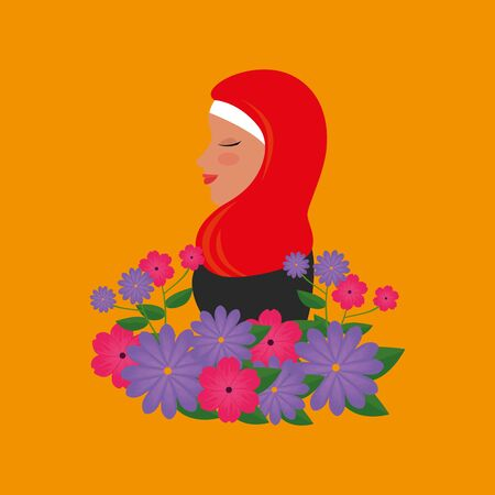 profile of islamic woman with traditional burka and garden flowers vector illustration 免版税图像 - 140105213