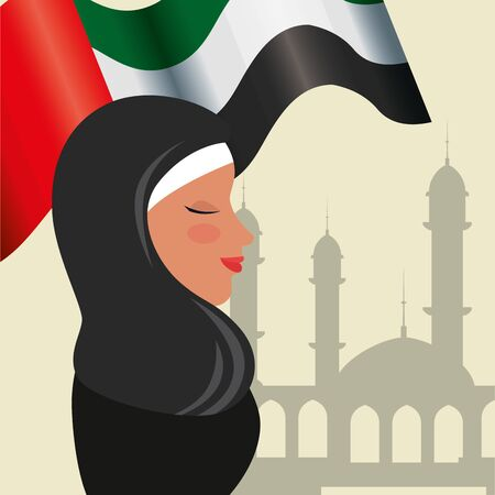 profile of islamic woman with traditional burka and arabia flag in mosque vector design 矢量图像