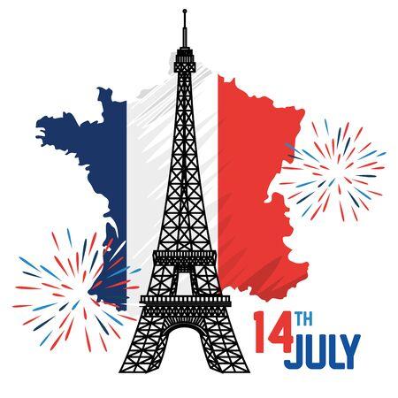 france flag with eiffel tower and fireworks to bastille celebration vector illustration