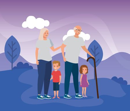 grandparents with their cute boy and girl children in the landscape, vector illustration Ilustração