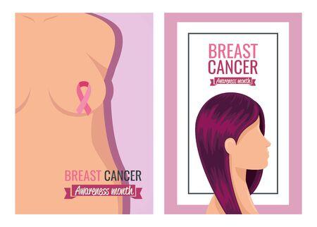set of poster breast cancer awareness month with decoration vector illustration design Ilustrace