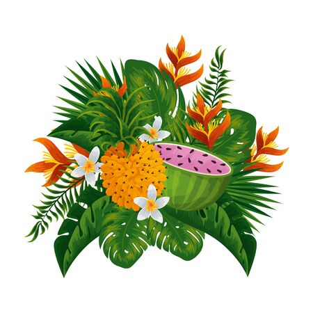 tropical watermelon and pineapple with floral decoration vector illustration design Vetores