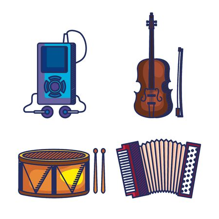 set of mp4 with violin and drum with accordeon instruments over white background vector illustration Ilustração