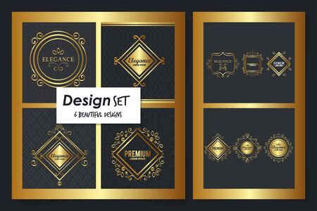 six designs of victorian elegance frames vector illustration design  イラスト・ベクター素材
