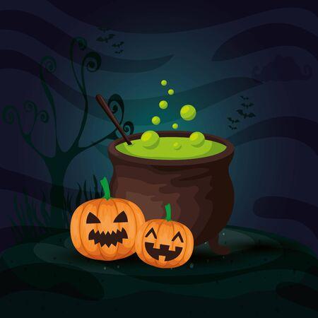 pumpkins with cauldron in scene halloween vector illustration design Ilustração