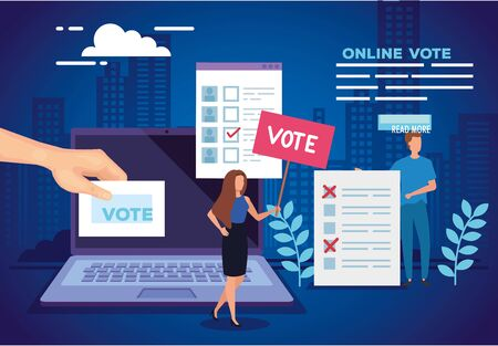 poster of vote online with laptop and people vector illustration design 向量圖像