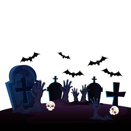 hands of zombie for halloween in cemetery vector illustration design