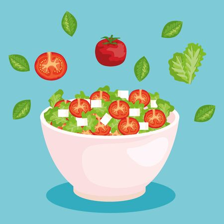 salad with fresh tomato and lettuce with cheese and leaves to healthy food vector illustration