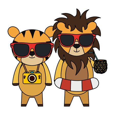 cute lion and tiger with camera and pineapple cocktail vector illustration design