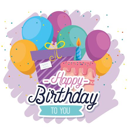 presents gifts with ribbon bow and balloons decoration to happy birthday, vector illustration