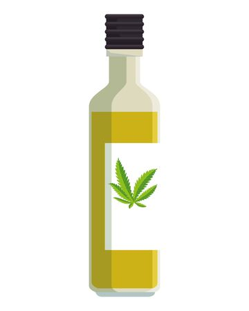 bottle with cannabis oil product vector illustration design 向量圖像