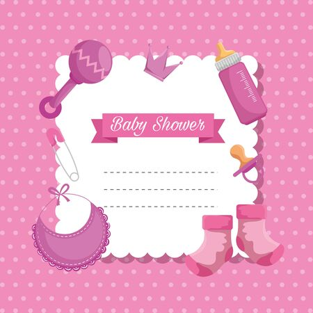 card of rattle with bib and feeding bottle decoration to baby shower vector illustration