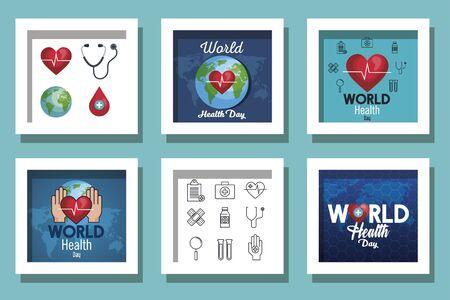 bundle of world health day and set icons vector illustration design Illustration
