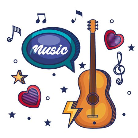 guitar instrument with treble clef and quaver with beam notes to music melody vector illustration Ilustração