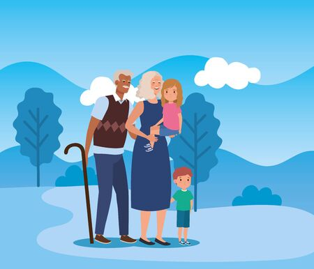 old man and woman with their grandson and granddaughter in the landscape, vector illustration