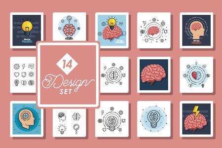 set of fourteen designs health mental day vector illustration design