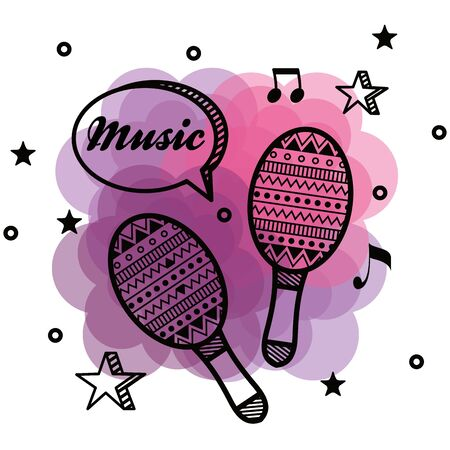 maracas instrument with notes and chat bubble message to music style vector illustration