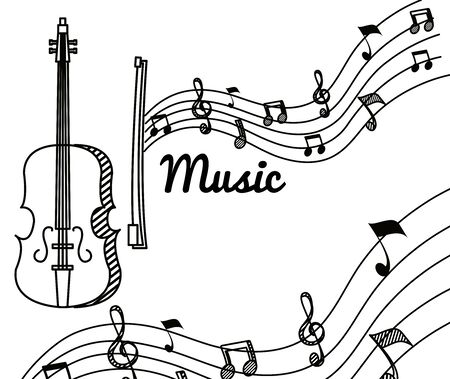 violin with treble clef and quaver with beam notes to music melody vector illustration