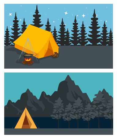 set of camp with firewood food and pines trees to travel adventure vector illustration