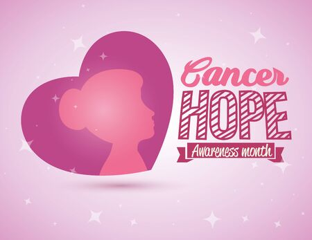 Breast cancer campaign design with heart over pink background