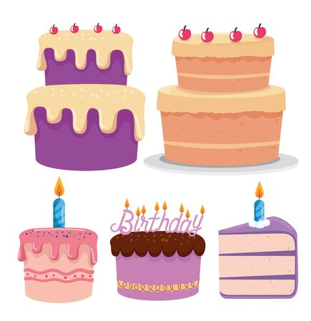 set of sweet cakes with charrys and candles decoration over white background, vector illustration 矢量图像