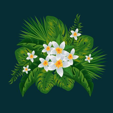 tropical flowers plants and exotic leaves vector illustration