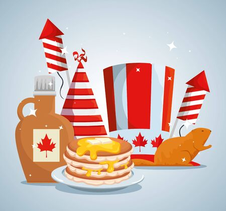 patriotic canada hat and beaver with fireworks and pancakes vector illustration